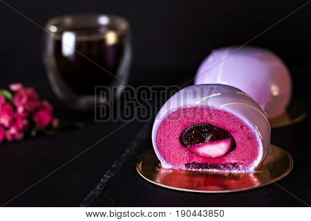 Violet Cake. Cake With Black Currant. Round Cake In A Mirror Glaze.