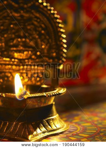 front view traditional oil lamp