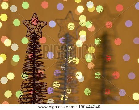 close up of x'mas trees with lights