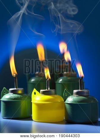 group shot of malay oil lamp, pelita