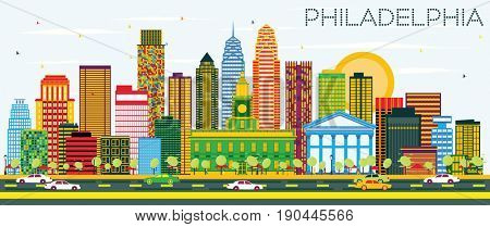Philadelphia Skyline with Color Buildings and Blue Sky. Business Travel and Tourism Concept with Philadelphia City. Image for Presentation Banner Placard and Web Site.