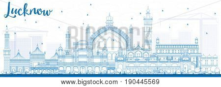 Outline Lucknow Skyline with Blue Buildings. Business Travel and Tourism Concept with Modern Architecture. Image for Presentation Banner Placard and Web Site.