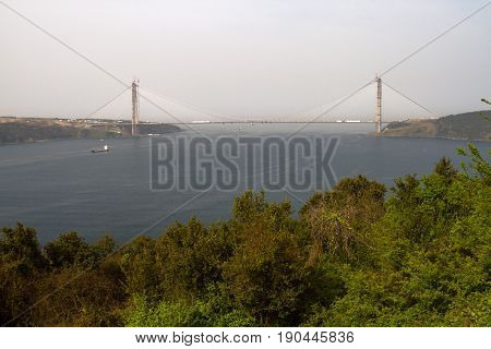 Panorama of the Bosporus and part of Istanbul. Removed from the Asian side. There are bridges over the Bosphorus and flags of Turkey