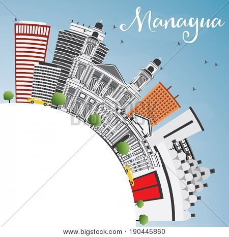 Managua Skyline with Gray Buildings, Blue Sky and Copy Space. Business Travel and Tourism Concept with Modern Architecture. Image for Presentation Banner Placard and Web Site.