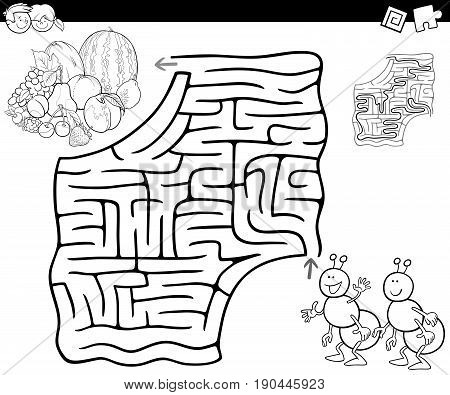 Cartoon Illustration of Education Maze or Labyrinth Game for Children with Ants and Fruits Coloring Page