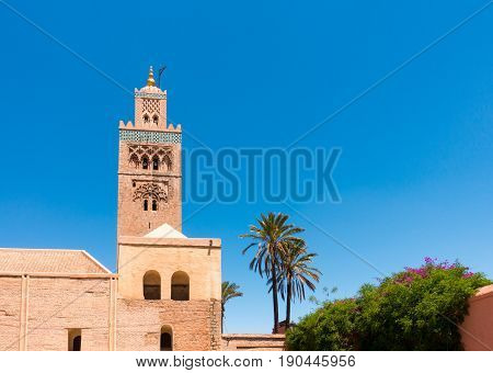 Closeup of the Koutoubia Mosque in Marrakech Morocco North Africa against clear blue sky.