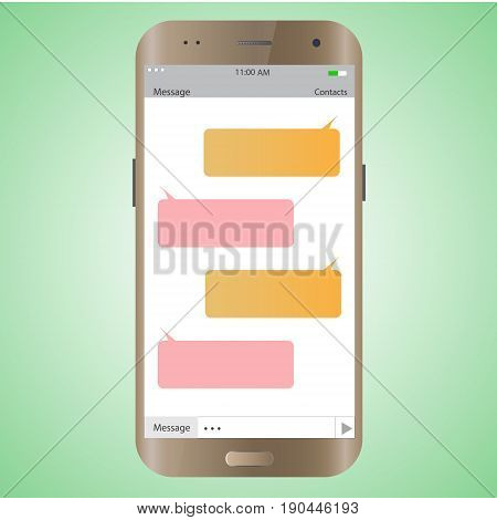 Text message mobile phone. empty messaging bubles. Smartphone with dialog boxes