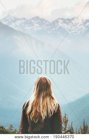 Blonde Woman enjoying mountains landscape Travel Lifestyle wanderlust concept adventure summer vacations outdoor girl traveler in harmony with nature poster