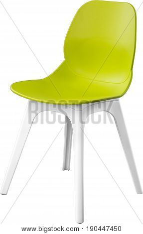 Green color plastic chair, modern designer. Chair isolated on white background. furniture and interior.