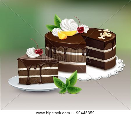 Vector chocolate puff cake with icing, whipped cream, nuts, fruits, cherry and mint on white lace napkin on blur background