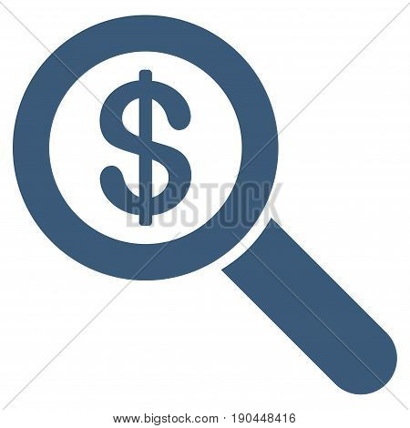 Blue Financial Audit Loupe toolbar icon. Vector pictogram style is a flat symbol on diagonal hatch transparent background.