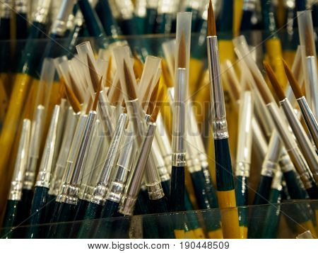 Close-up detail of multiple artist's paintbrushes with fine tips at an arts and crafts store. Arts and craft creativity concept.
