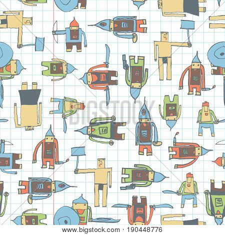 Hero Seamless Pattern. Fascinating Child's Drawing With School Pen. Cute Hero Hand Drawn With Color