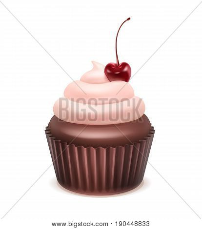 Vector Cupcake with pink whipped cream and cherry close up isolated on white background