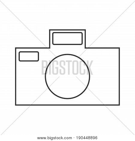 Icon symbol of the flat design of the camera for the photographe on a white background