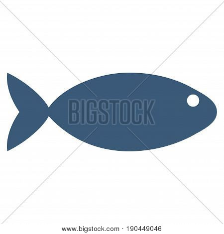 Blue Fish toolbar icon. Vector pictogram style is a flat symbol on diagonal hatch transparent background.