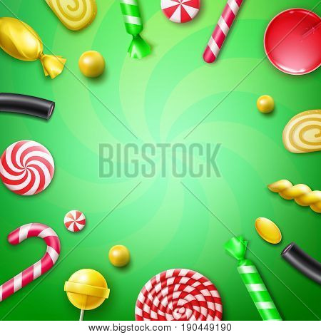 Vector candy flat lay with different sweets in red, yellow striped foil wrappers, swirl lollipops, xmas cane and copyspace top view on green background