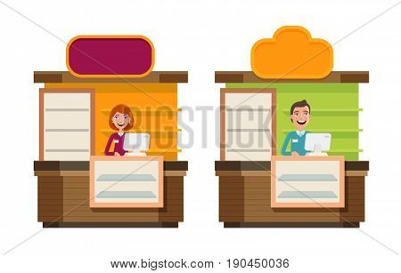 Shop, store, counter, shopping icon. Storefront, showcase, exhibition stand, reception, show concept Cartoon vector illustration isolated on white background