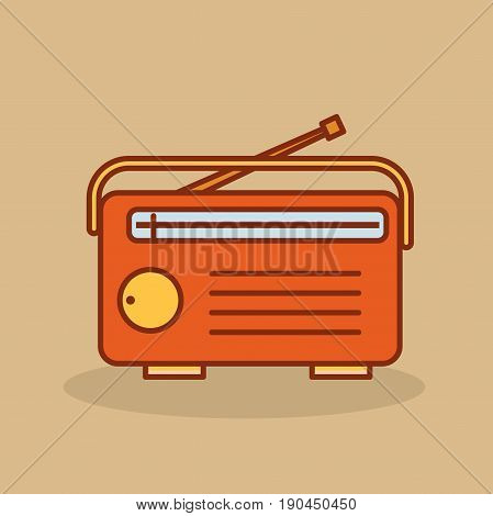 Cute retro radio. Old radio in cartoon style. Vector stock.