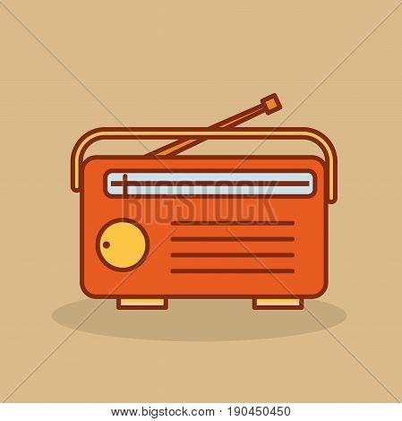 Cute retro radio. Old radio in cartoon style. Vector stock.