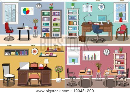 Set of modern office interior with comfortable furniture - desks, computer chairs, bookcases, bookshelves. Stylish home and business work space. Flat style vector illustration.