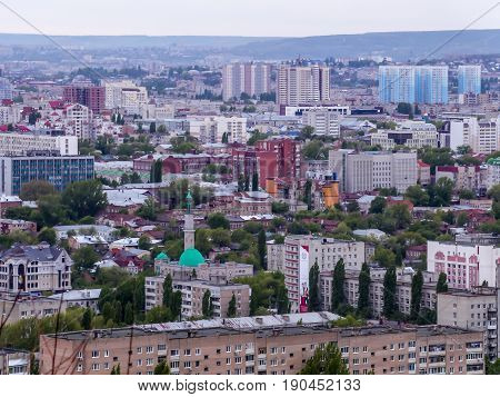 The City Of Saratov, Russia. View of the city from the top. Houses, streets, and public buildings. Mosque.