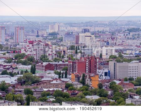 The City Of Saratov, Russia. View of the city from the top. Houses, streets, and public buildings.