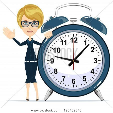 woman with alarm clock. Young businessman in business concept isolated on white. Stock flat vector illustration.