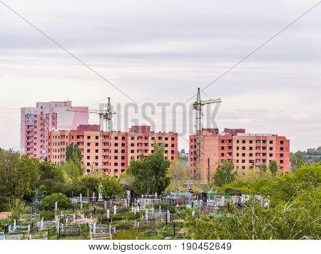 The construction of new apartment houses near the cemetery. The City Of Saratov, Russia