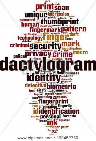 Dactylogram word cloud concept. Vector illustration on white