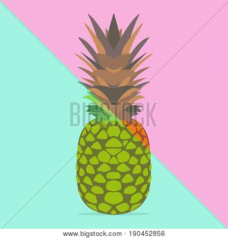 Trendy pineapple with vivid pastel colors summer fun. Trendy poster background.