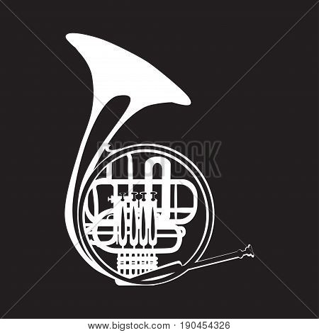 Vector illustration of white french horn isolated on black background. Wind brass musical instrument, flat style design.