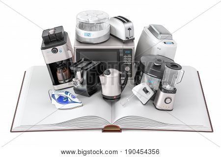 Opened blank book with household kitchen appliances 3D rendering isolated on white background