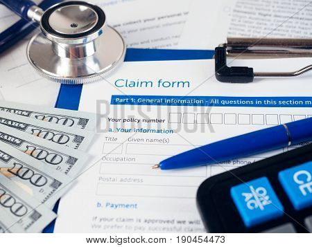Health insurance claim form. The insurance policy covers the cost of treatment. Healthcare medical treatment health insurance settlement and safety concept.