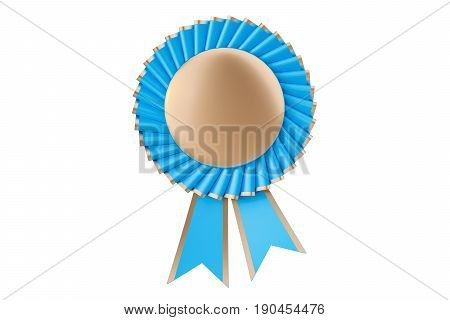 Blue winning award prize medal or badge with ribbons. 3D rendering isolated on white background