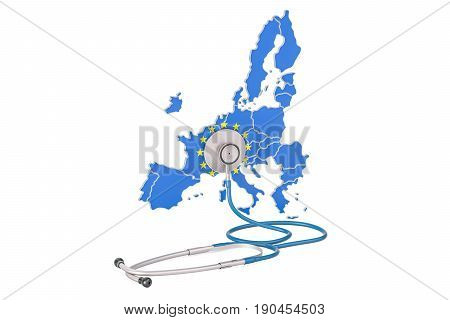 European Union map with stethoscope national health care concept 3D rendering