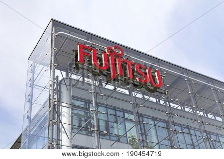 Prague, Czech Republic - May 22: Fujitsu Company Logo On Headquarters Building On May 22, 2017 In Pr