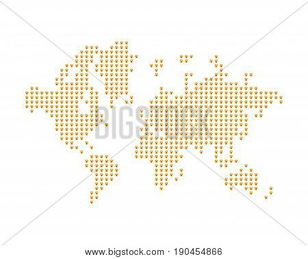 The world map consists of yellow emoji. A concept on social networks. Flat vector illustration EPS 10