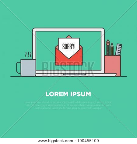 'Sorry' written in envelope on monitor of notebook, pencils and cup of coffee near. Thin line vector concept of apologizing from internet shop.