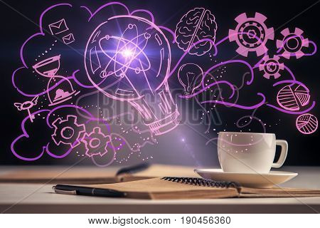 Close up of desktop with coffee cup notepad pen and purple lamp drawing. Great idea concept