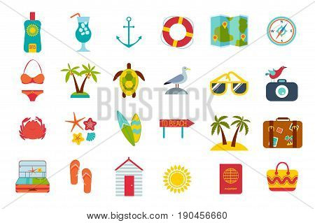 Set of summer icons. Beach accessories, sea objects, summer cosmetics, surfboards, animals and sea birds
