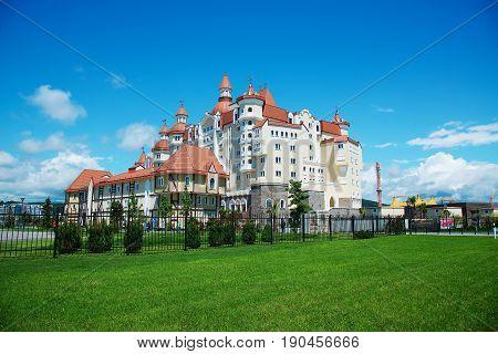 SOCHI RUSSIA - MAY 21 2017: Hotel Bogatyr near Sochi Olympic Park
