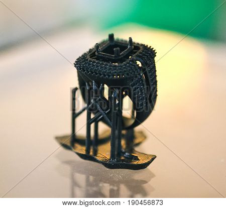 Objects photopolymer printed on a 3d printer. Stereolithography 3D printer, technology of liquid photopolymerization under UV light