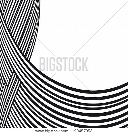 Abstract background. Black and white curve lines with frame for message