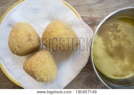 street food : fried sicilian rice balls or arancini