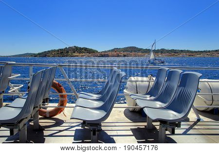 St Raphael, Provence, France - August 21 2016: Seats On A Passenger Ferry From St Raphael To St Trop