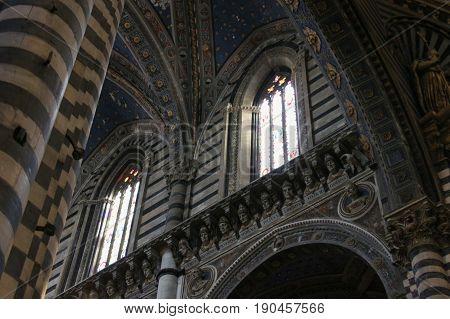Italy Siena - December 26 2016: interior view of the Duomo di Siena. Metropolitan Cathedral of Santa Maria Assunta on December 26 2016 in Siena Tuscany Italy.