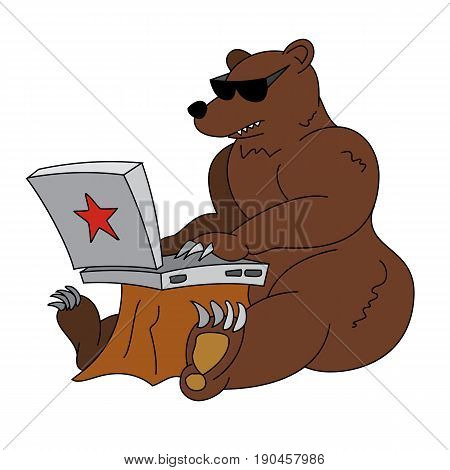 Russian hacker humorous illustration - angry brown bear with laptop. Animal in sunglasses working with notebook with red star on the cover. Funny vector clip art.