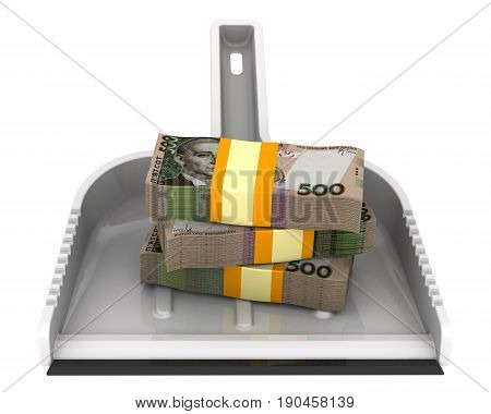 Money like garbage. The financial concept of devaluation of the Ukrainian hryvnia. Isolated. 3D Illustration