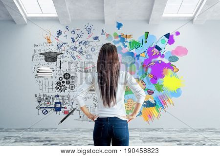 Back view of young woman in concrete interior looking at wall with abstract sketch. Left and right brain sides concept. 3D Rendering